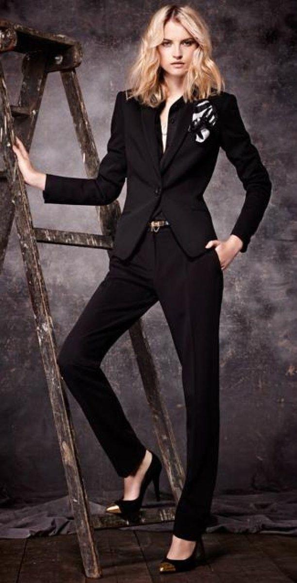 брючный костюм женский с галстуком фото можно купить дистанционный