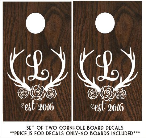 Floral Antler Cornhole Decals Wedding by CustomVinylbyBridge