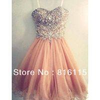 Increíble rosa hecha a mano de tul vestido de dama de honor vestido de fiesta vestido corto