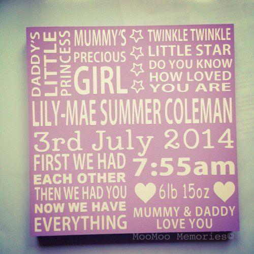 Girls  birth board made from wood. Twinkle twinkle little star, first we had each other. Personalised quote board. ABC. Love you to the moon.