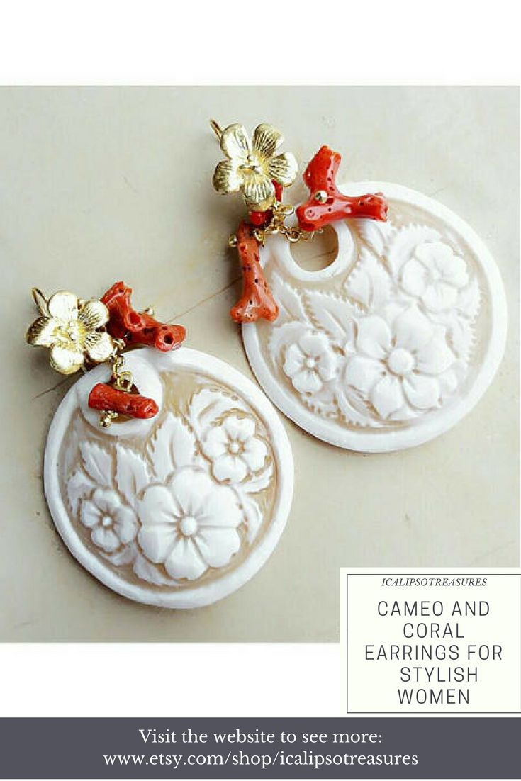 Cameo flower earrings with natural coral, these boho earrings are a perfect birthday gift for mum, girlfriend, sister or wife. Visit the website to see more