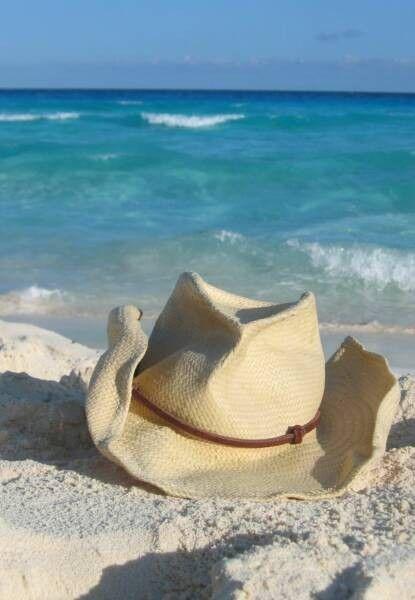 cowboy hat on beach  7e2b1817044