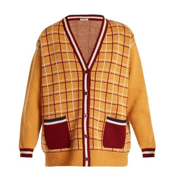 Miu Miu Oversized checked-wool cardigan ($1,200) ❤ liked on Polyvore featuring tops, cardigans, yellow multi, over sized cardigan, yellow cardigan, beige long sleeve top, long sleeve tops and beige cardigan