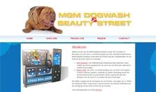 Website gebouwd voor MGM Dogwash (hondentrimsalon en hondenwasstraat). Ontwerp door Ligaturen.