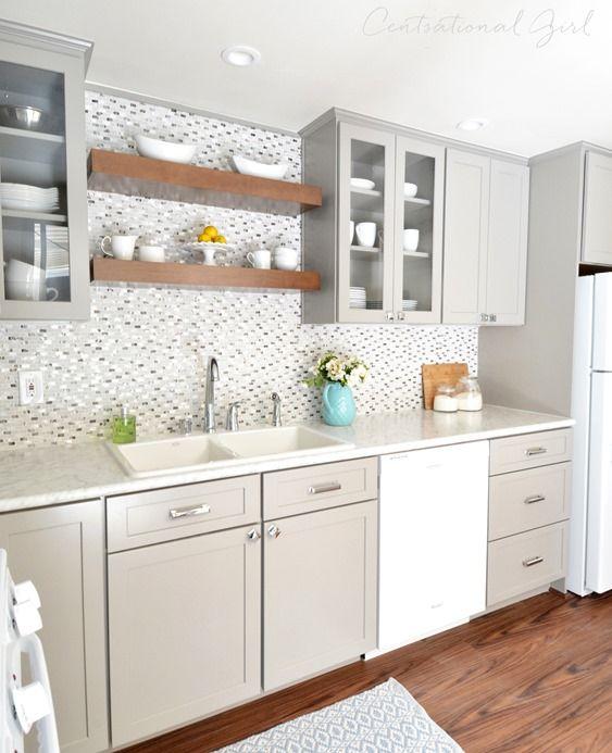 gray white kitchen side view
