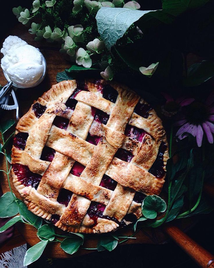 Tart Blueberry Plum Pie