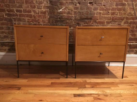 paul mccobb planner group 2 drawer bedside tables nightstands blonde maple iron base minimalist modern mid century fully restored blonde maple double