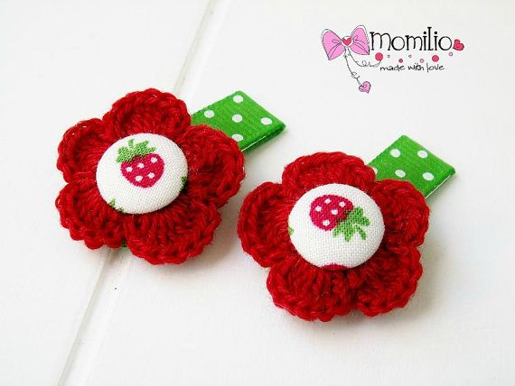 Snap clip for baby flowers Strawberry by Momilio on Etsy