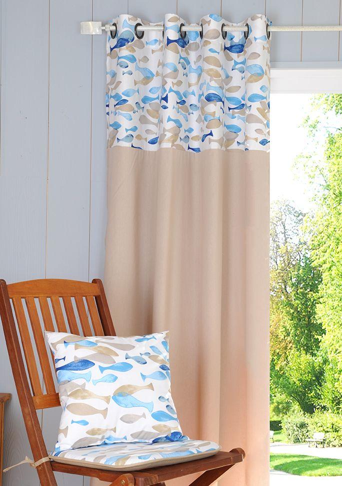 """""""Aqua"""" : 100% coton ; Rideau 135 x 260 cm finition oeillets, coussin 40 x 40 cm, galette de chaise 40 x 40 cm. #STOF #DECO"""