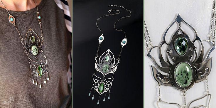 Kwiat lotosu - Lotus Flower Silver + natural stones + glass drops