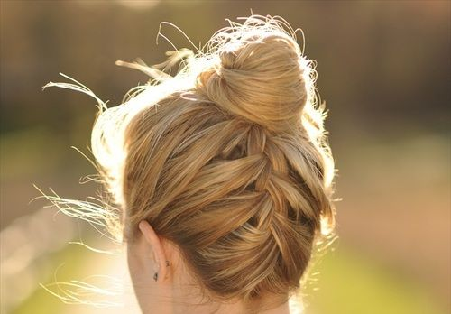 I try to do this and I fail...: Fashion, Idea, Hairstyles, Makeup, French Braids Buns, Hair Style, Upside, Nails, Updo