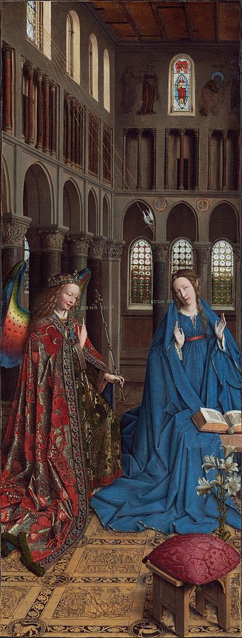 Jan van Eyck - La anunciación (1434). Gótico flamenco. Óleo transferido de tabla a lienzo de 93 x 37 cm. The National Gallery of Art (Washington), EE.UU