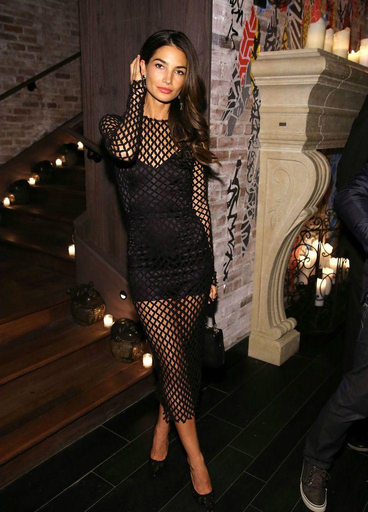 Lily Aldridge - Sexy Black Fishnet like dress