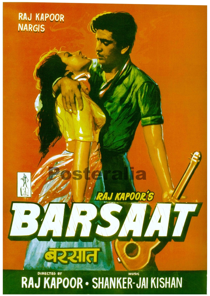 Classic Bollywood film poster - Barsaat Iconic and path breaking film released in the 1960's   #RajKapoor #Movie #Classic #Timeless #Bollywood #MumbaiMatinee #Cafe #Delhi