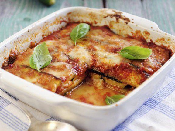 Rezept: Lasagne aus Zucchini, Mozzarella, Tomaten und Basilikum