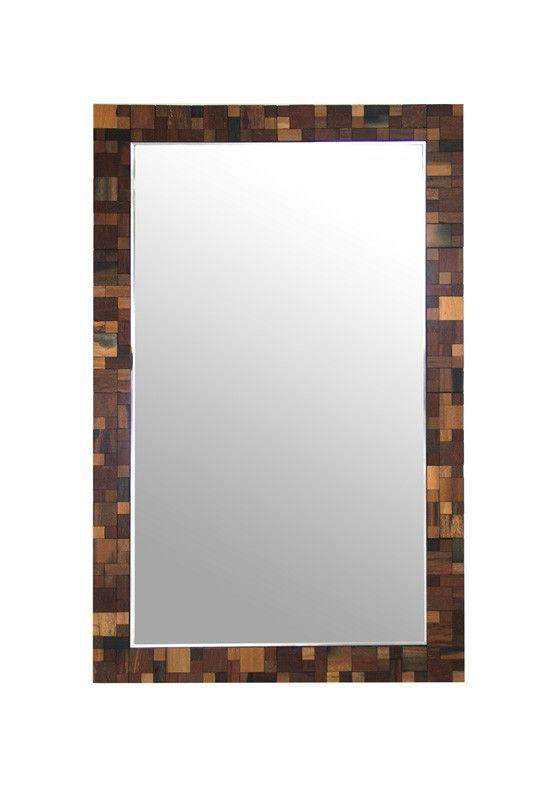 """Modrest Pixel Modern Rectangular Wall Mirror. The Modrest Pixel modern rectangular wall mirror is bordered in a stunning wood frame with square patterns in black and various shades of brown. This modern wall mirror measures W47"""" x D1"""" x H30"""" and will fit in any room Dimensions: W47"""" x D1"""" x H30"""" Color: Other Finish:   -"""