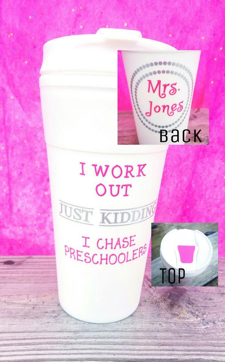 Preschool Teacher Gift - Mom Gift - I work out Just kidding I chase Preschoolers - Teacher Gift - Travel Mug - Personalized Teacher Cup by JDennisCustomDesigns on Etsy https://www.etsy.com/listing/269771618/preschool-teacher-gift-mom-gift-i-work