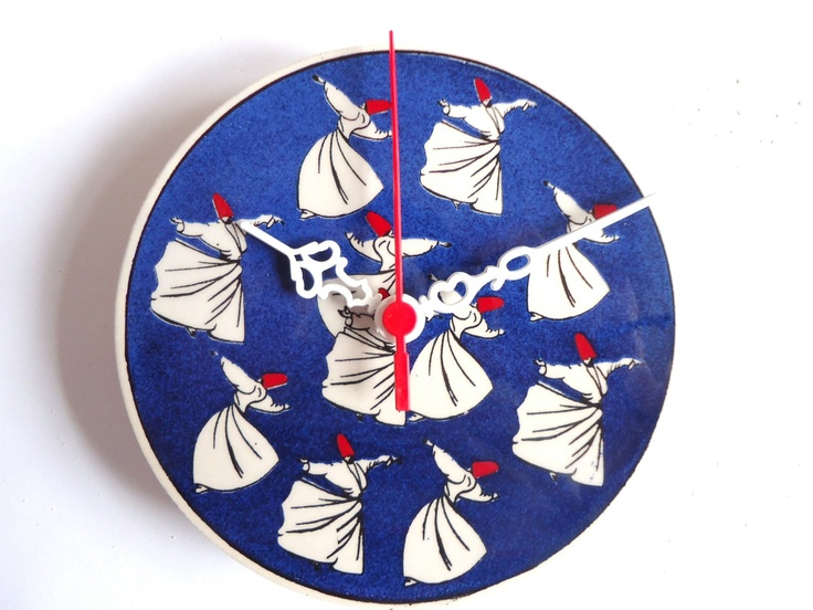 Wall Clock,Clock, whirling dervishes , Semazens, Mevlevi who performs the sema.. via Etsy.