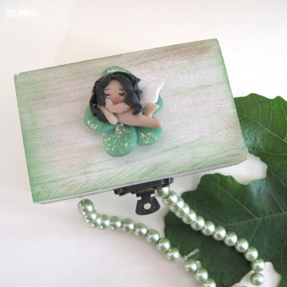 Sleeping fairy on a wooden box Polymer clay by DreamBigHandmade