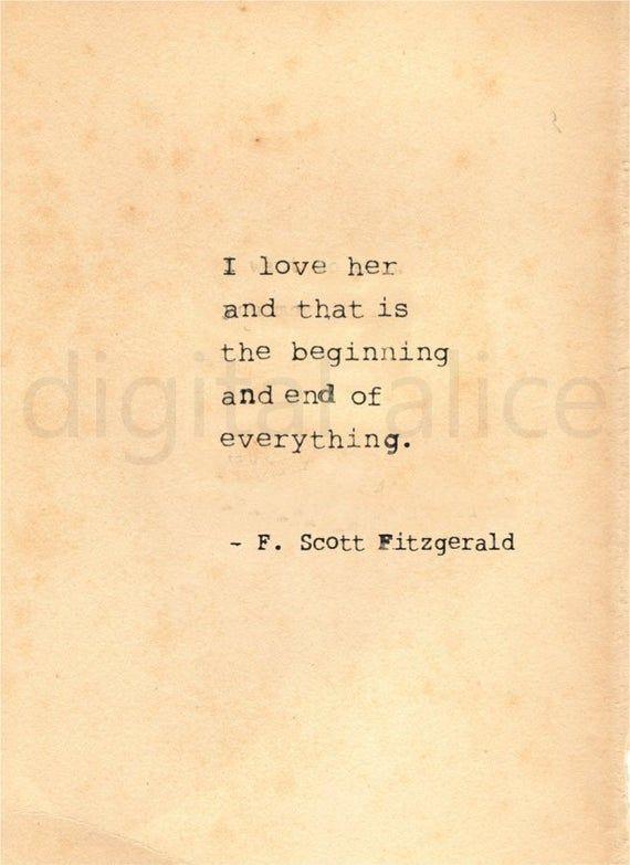 Vintage Typewriter Print F Scott Fitzgerald Quote Wall Art Etsy Scott Fitzgerald Quotes Fitzgerald Quotes Quotes