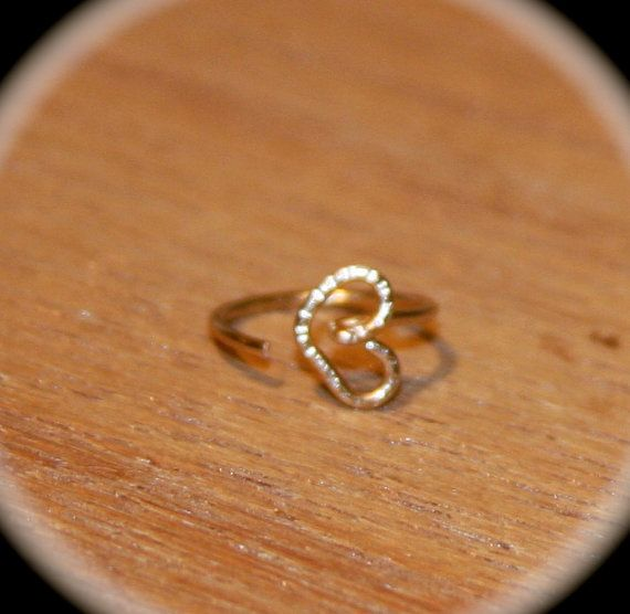 Small Nose Ring Heart Nose Ring 14k Nose Hoop by BirchBarkDesign