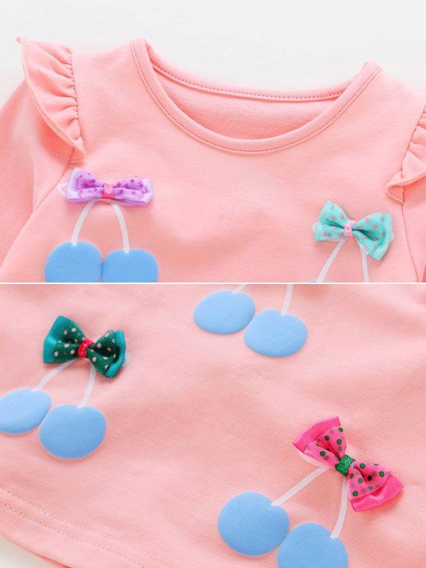 Casual Bow Fruit Printing Round Collar Sweatshirt