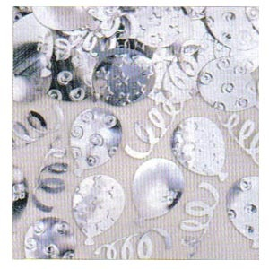 Confetti Party Balloons Embossed - Silver 1/2 oz.