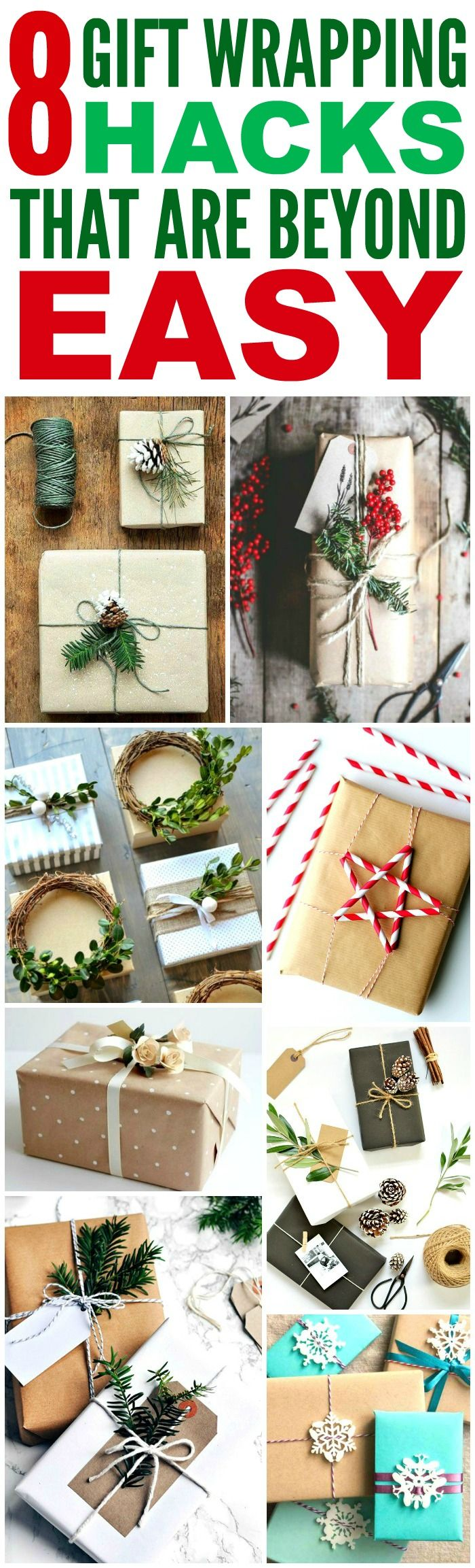 These 8 Creative Ways to wrap Christmas Presents are THE BEST! I'm so happy I found these GREAT tips! Now I can impress friends and family with my skill! Definitely pinning!