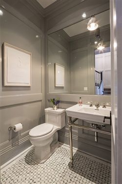 Gorgeous grey powder room. www.choosechi.com