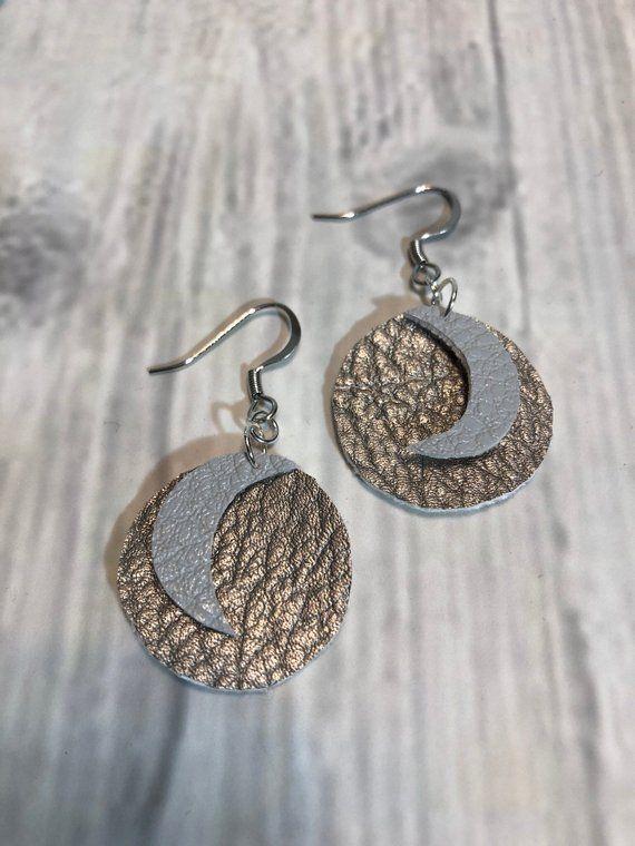 Moon earrings, Metallic leather earrings, Boho jewelry, Faux leather earrings