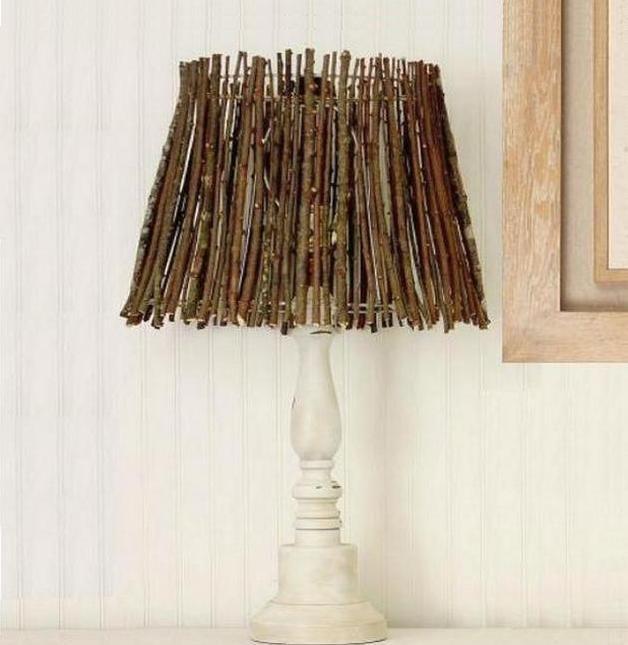 Абажур из веточек для настольной лампы