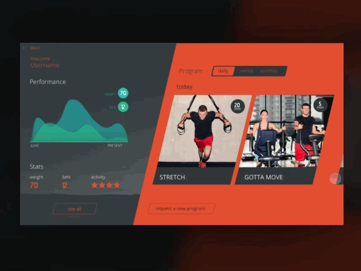 Scroll animation of the screen that displays user performance and the program they have, from the project I was working on for a system to be used in kiosk displays in a gym.  Made with Principle. ...
