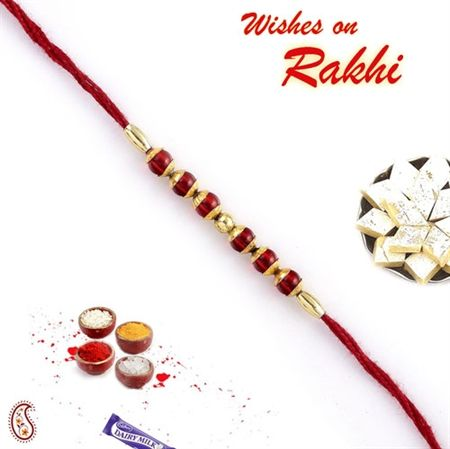 Picture of Red Glass and Gold Beads Rakhi