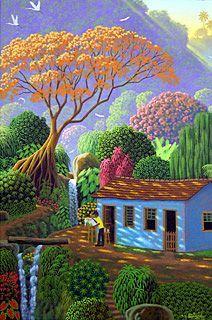 Painting the Flamboyant Tree by Edivaldo Barbosa de Souza - GINA Gallery of International Naive Art