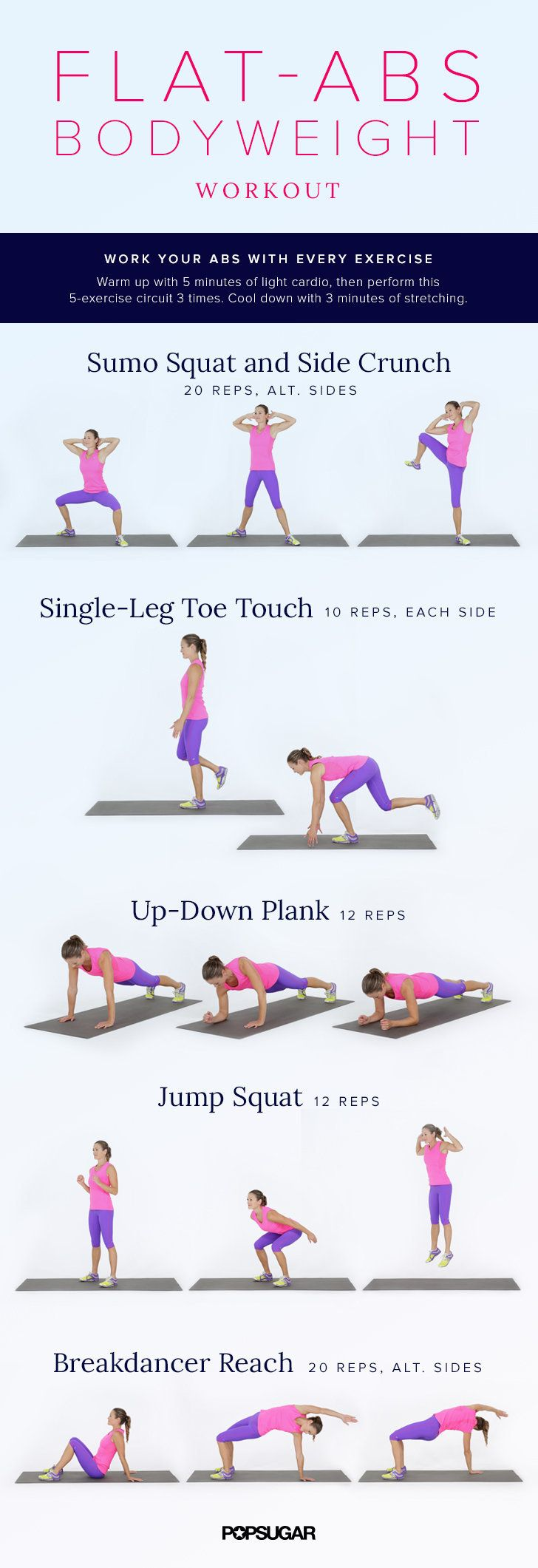 Printable No-Equipment At Home Workouts - Bodyweight Ab workout