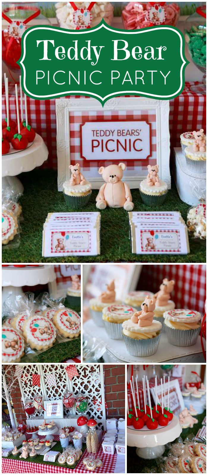 Such a cute teddy bear picnic party in red and green! See more party planning ideas at CatchMyParty.com!