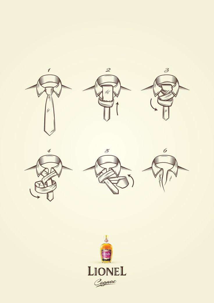 こーゆーの良い:お酒の味わい方を、ネクタイのほどき方を通して訴求したプリント広告。