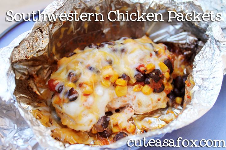 Southwestern Chicken Packets- just made these and they were FANTASTIC! The chicken was so tender and juicy from the steaming. Used a can of creamed corn instead of frozen kernels since that's what I had and didn't want to go to the store. REALLLLLLY delicious! Will be making this a staple! ~LA