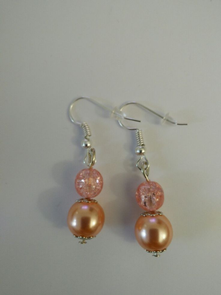 Boucles d'oreille perle rose #diy #french #earring