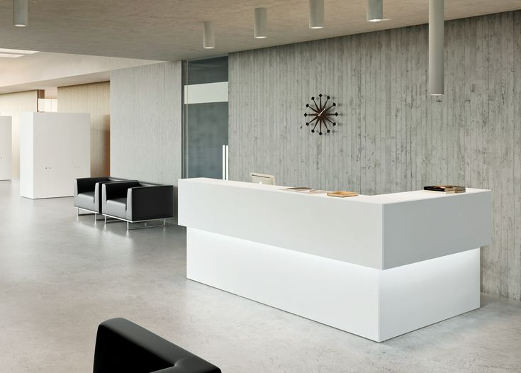Ice White Corner Reception Desk With Under Counter Accent