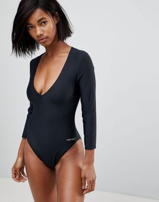 1b7b8b7223 Calvin Klein black long sleeve swimsuit on ASOS