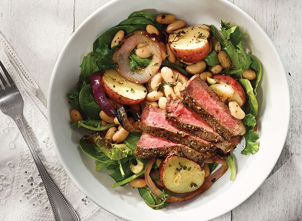 Grilled Steaks with Warm White Bean Salad from Publix Aprons