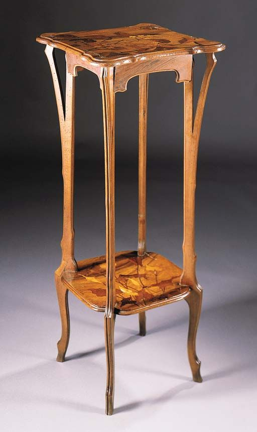 A FRUITWOOD MARQUETRY STAND BY EMILE GALLE   The Square Top With Inlaid  Decoration Of A Butterfly Amongst Foliage, On Shaped Legs United By An  Undertier ...