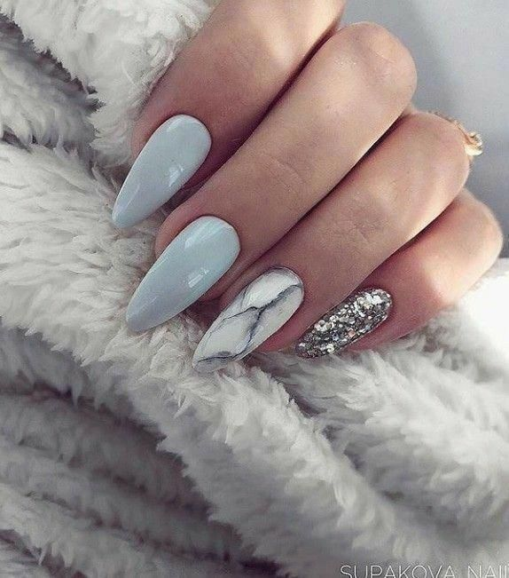 Almond Nails. Blue and Grey Nails. Marble Nails. Silver Glitter Nails. Acrylic N…