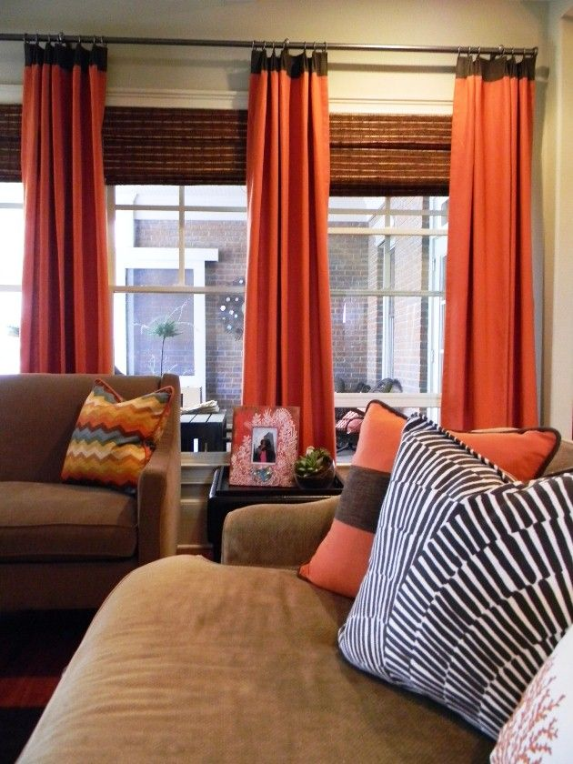 Best 25 orange blinds ideas on pinterest orange roman for Orange and brown living room ideas