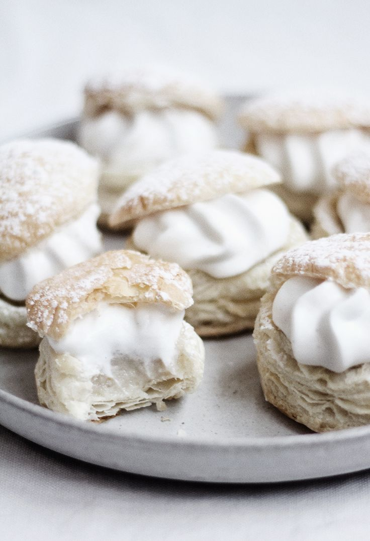 flaky pastry filled with almond cream and vanilla whip