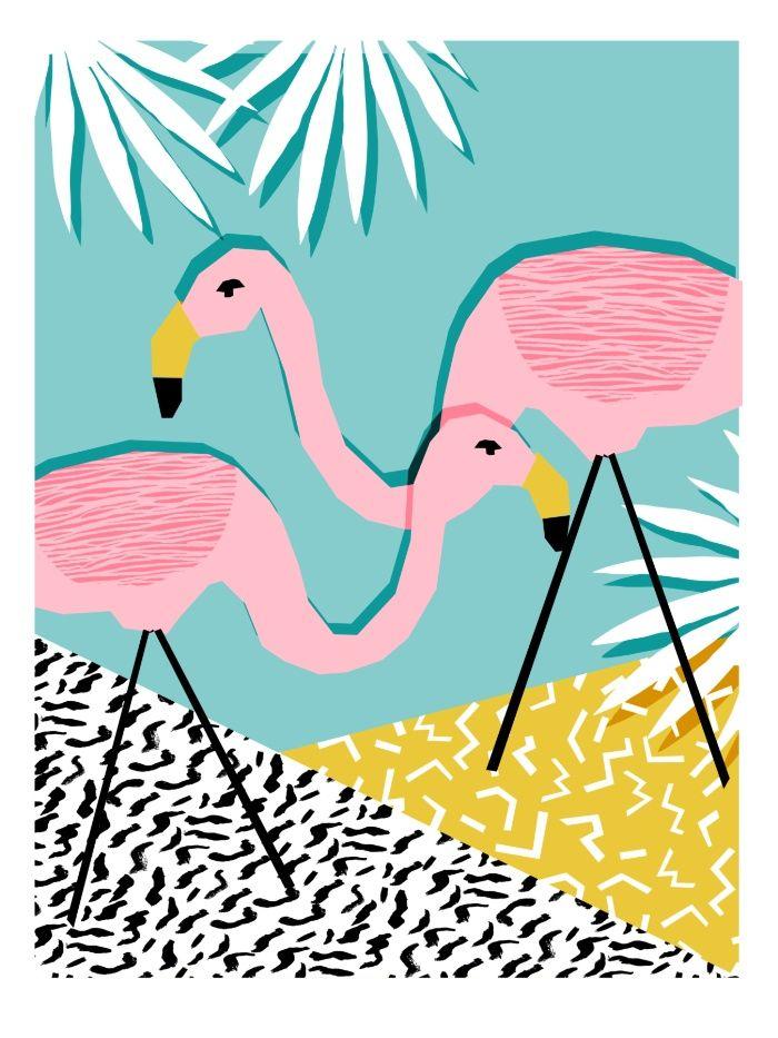 Sunday's Society6 - Wacka retro neon tropical colorful pattern pop art flamingo #summer #artprint #art #retro #colorful #society6 #flamingo