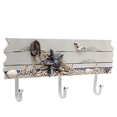 Oceanic Coastal White Sandy Beach Style Starfish, Seagull & Seashells Wood 3 Metal Coat Hooks Wall Rack