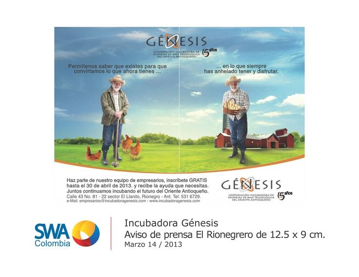 Cliente: Incubadora Génesis.  Pieza: Aviso de prensa El Rionegrero.