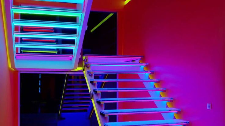 """https://www.youtube.com/watch?v=LpUhqDMFcf8  """"There is no elevator to success. You have to take the stairs."""" Fortunately, some staircases are more attractive than others. Take this one, for example: a one-of-a-kind piece made of glass and over 4000 #LED bulbs. #PLEXIGLAS® LED sheets under glass steps scatter and distribute light uniformly."""